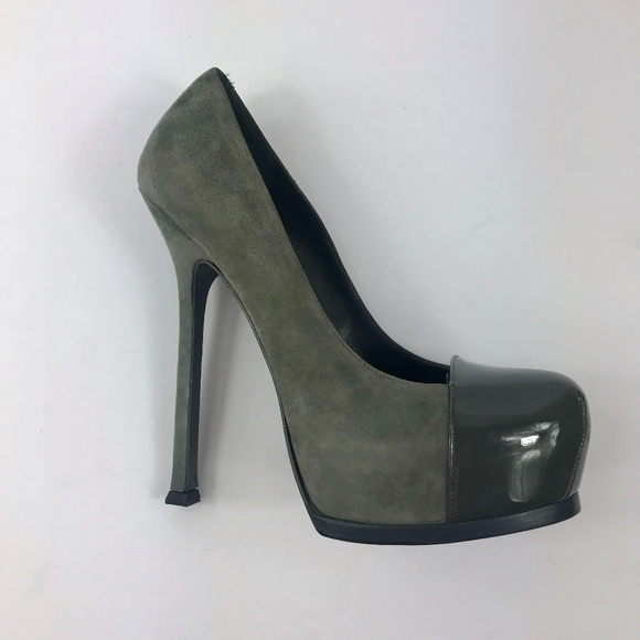 7f52d1dff712 YSL Tribute Tribtoo Pumps Grey Suede Cap Toe 37.5.  M 5a80a36ba825a667795949b1. Other Shoes you may like. YSL Yves Saint  Laurent platform heel ...